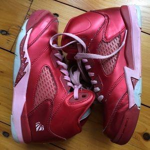 Red girls retro Jordan sneakers hi top youth 1